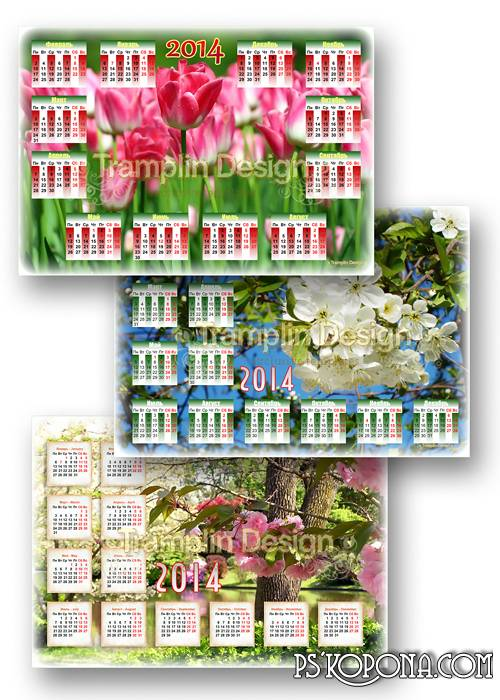 Three spring calendars with flowers - Are dismissed buds