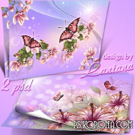 Multilayer backgrounds for Photoshop with flowers and butterflies