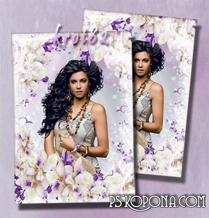 Photo frame with delicate flowers - Flowers give us the mood