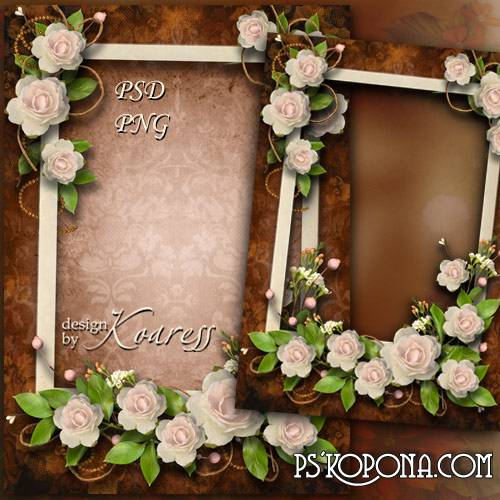 Romantic photo frame - In the gentle aroma of roses