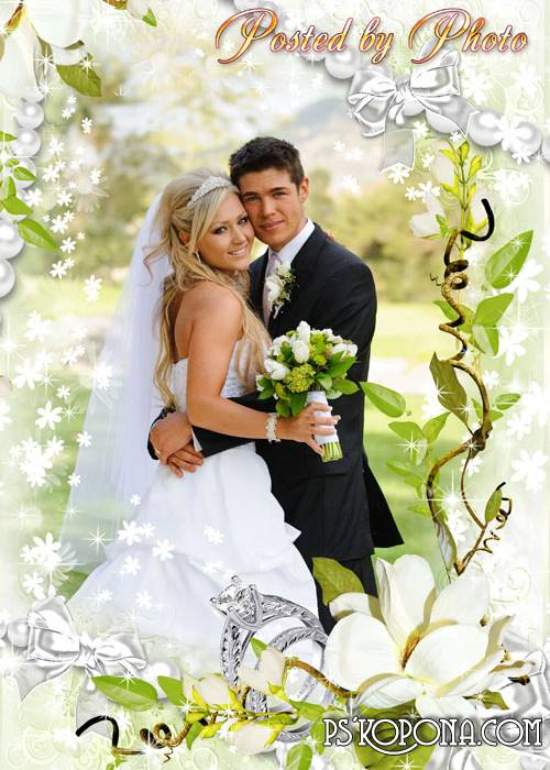 Wedding photo frame - we Wish happiness to many, many