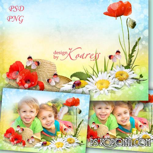 Childrens photo frame for Photoshop with flowers - Summer is coming soon
