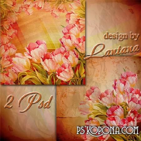 Multilayer backgrounds for Photoshop - Tulips in vintage style