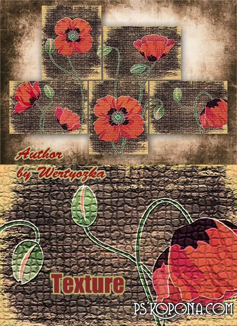 Modular pattern - Red poppies, vintage