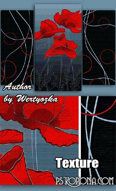 Modular painting triptych - Red Poppies, abstraction