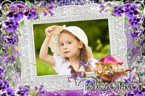 Baby frame for girls - Pansies for princess