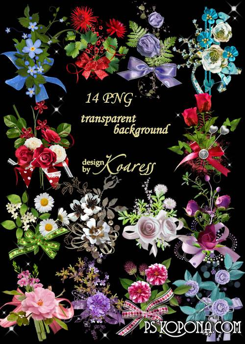 Png floral clusters on a transparent background with bows - Floral fragrance