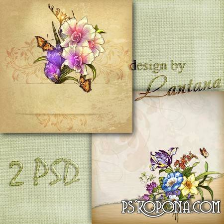 Multilayer backgrounds for Photoshop - Vintage bouquet