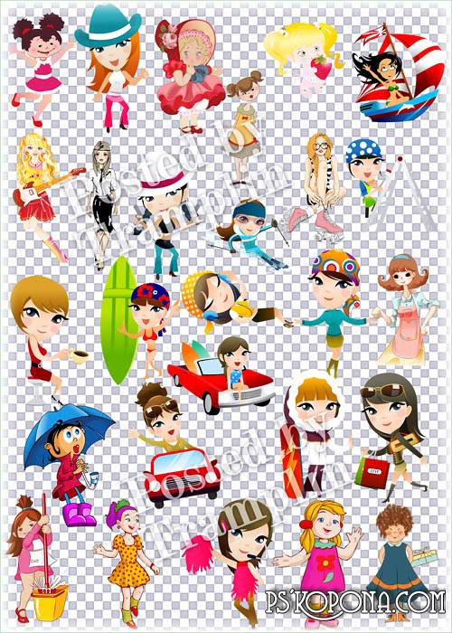 Clipart on a transparent background – Girls