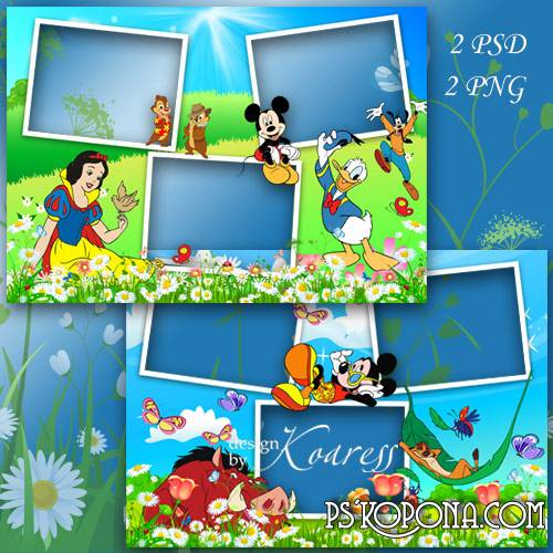 Set of 2 childrens photo frames for Photoshop with cartoon characters - The Summer picnic