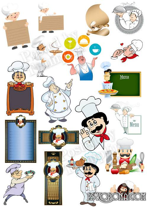 Clipart on a transparent background – the Cook, food, the menu