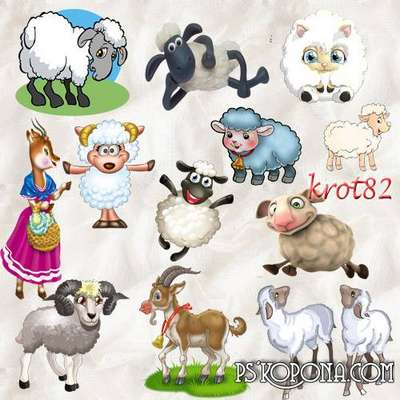 Selection Clipart - Sheep, goats png on a transparent background