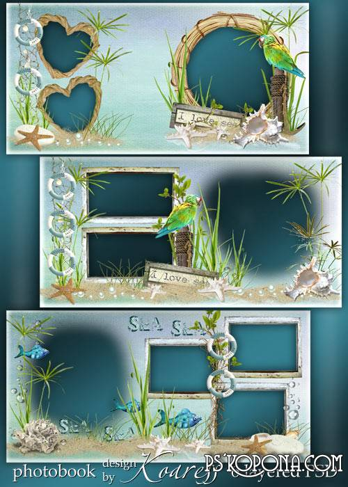 Romantic photobook template psd for summer photos - Romantic holidays at sea