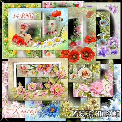 Set of floral frameworks for Photoshop - Summer flowers