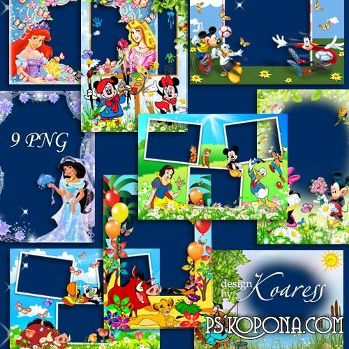 Set of png photo frames for design with Disney cartoon characters - Happy friends