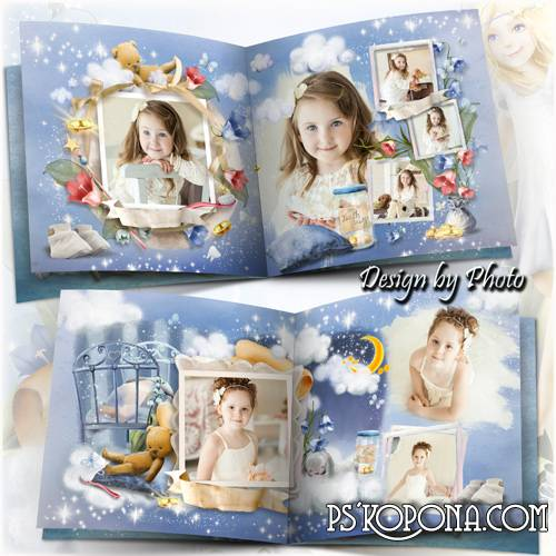 Baby book template psd for girls - Fairy-fairies