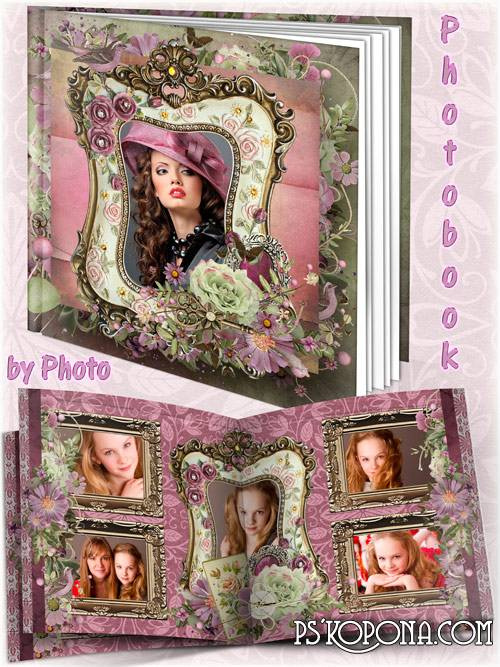 Flower photo book template psd vintage - My love