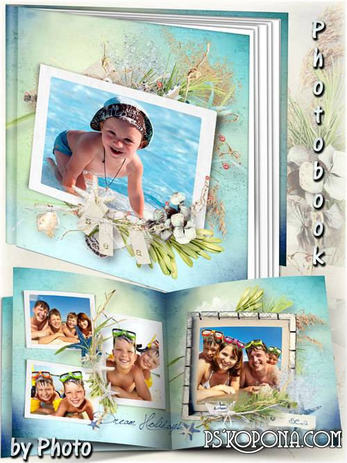 Offshore photobook template psd - Summer on the beach