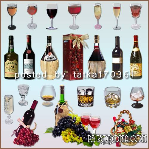 Clipart for Photoshop - Bottles and glasses of wine