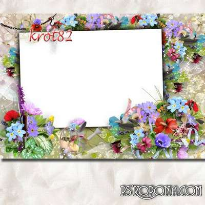 Frame with colorful bright flowers - Beautiful day