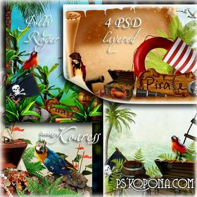 Set of photo frames for Photoshop with parrots, palms and pirates treasures - Under the Jolly Roger