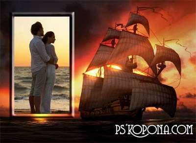 Frame for a photoshop - the Wonderful evening decline