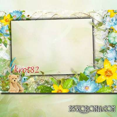 Summer frame with flowers - Wonderful bear