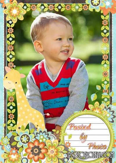 Children scrap-frame - Cute giraffe