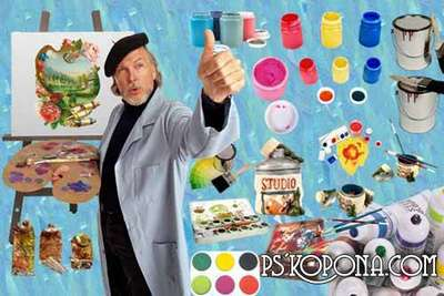 Free png images: Easels, palettes, paint, brushes, artist, sets artist, textures, 3 png frames