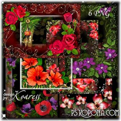 Set of photo frames for Photoshop with bright summer flowers - Sweet kiss of summer