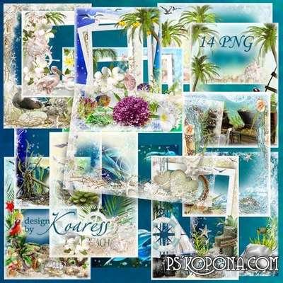 Set of png marine frameworks for Photoshop - Warm sea, soft sand, gentle surf