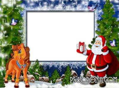 Children frame - Horseshoe horse rattled in a wonderful winter night