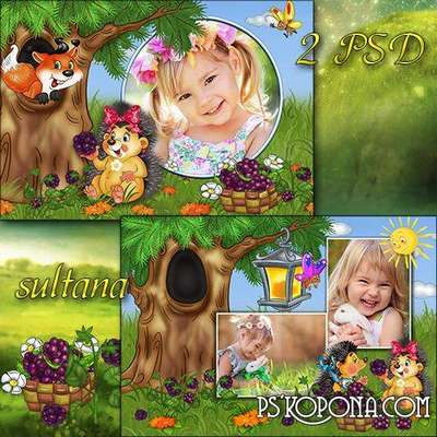 Childrens frames for Photoshop - Ripe blackberries