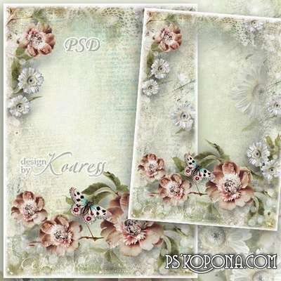 Romantic vintage photo framework - Tenderness of trembling flowers