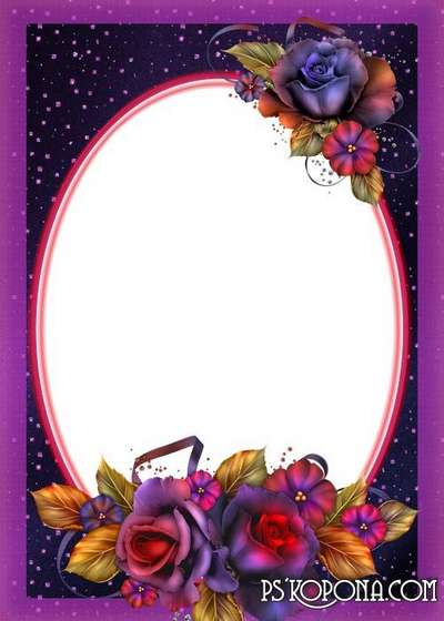 Women's floral frame - Charm Rose in the night