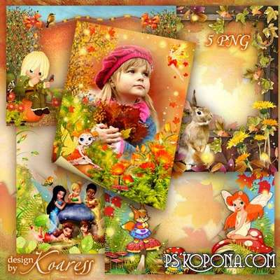 Set of childrens autumn frameworks - The golden autumn
