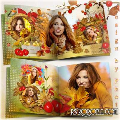 Autumn photo book template psd for the whole family - Golden autumn