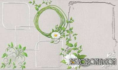 Female photo album template psd with flowers