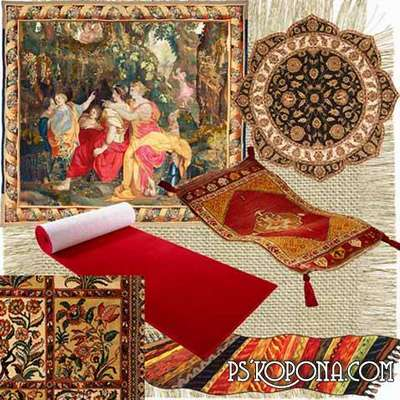 Tapestries, carpets, red carpets, carpets - clipart on a transparent background