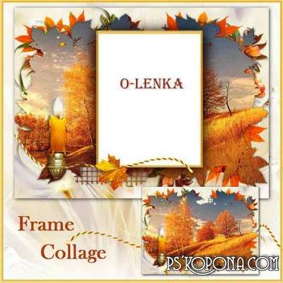 Frame for photoshop - In a whirlwind of autumn gold, burns sunset candle