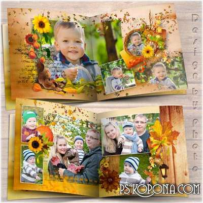Family photo book template psd - Autumn coolness