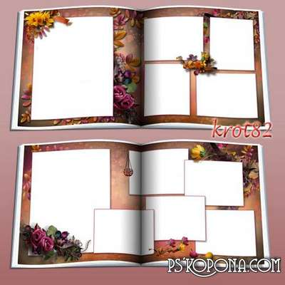 Family photo book template psd in autumn colors - Wonderful memories