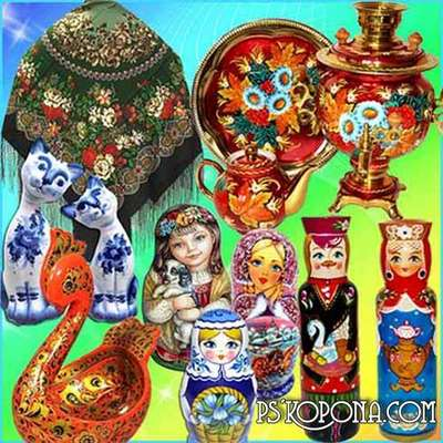 Russian souvenir png images samovars, spoons , dolls on a transparent background