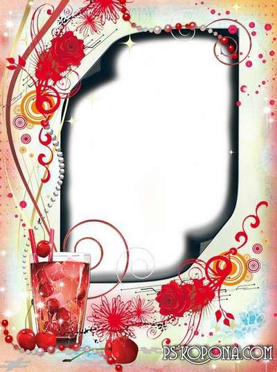 Womens multilayer PSD - PNG  frame with roses - Cool drink