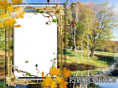 PSD Frame for photo - Golden Autumn