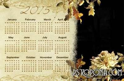 Acorns - wall calendar with acorns and autumn leaves