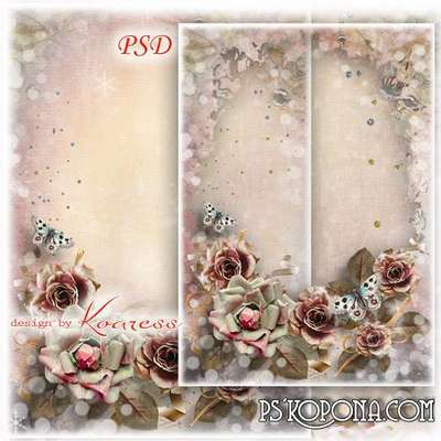 Frame for Photoshop with vintage flowers - Romantic feelings