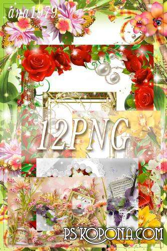 Set of 12 PNG free frames - Flower Paradise