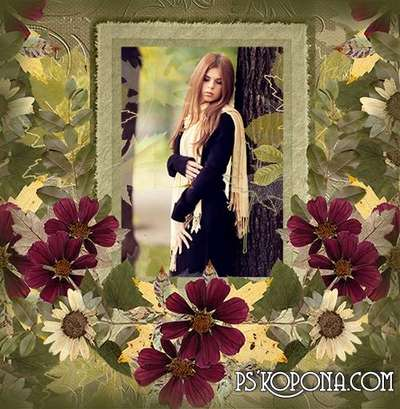 I love autumn - autumn romantic PSD free frame for photo