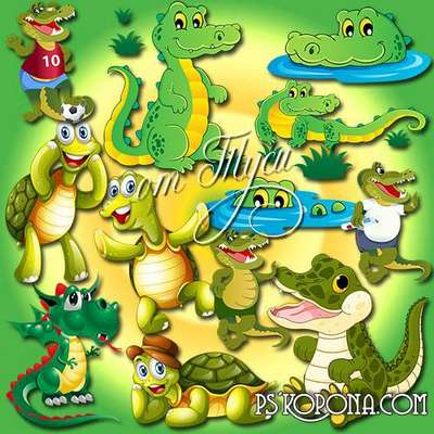 Toys PSD Clipart free - The Tortoise and the Crocodile